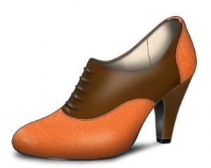 Chaussures mariée orange et marron
