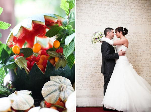 Mariage pluvieux mauve déco buffet