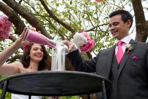 Mariage rose et blanc cérémonie rituel du sable