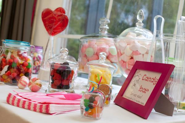 Mariage rose et blanc candy bar