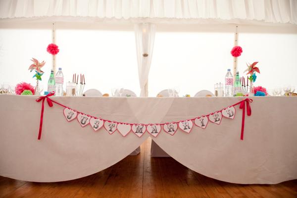 Mariage rose et blanc déco salle