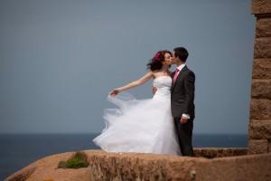 Mariage rose et blanc mariés photo mer