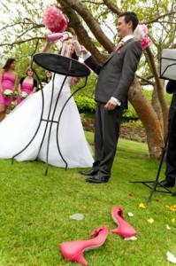 Mariage rose et blanc rituel du sable