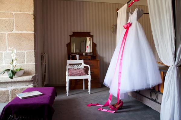mariage rose et blanc robe de la mariée