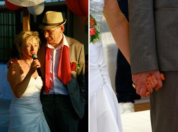 mariage rouge et blanc les mariés