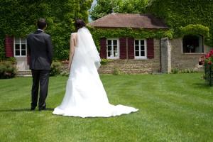 mariage rose et blanc les mariés