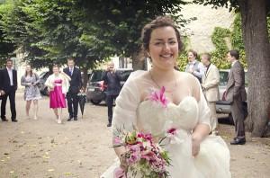 Mariage conte de fee vintage arrivée mariée
