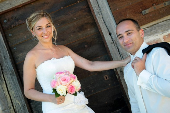 mariage rose champetre couple