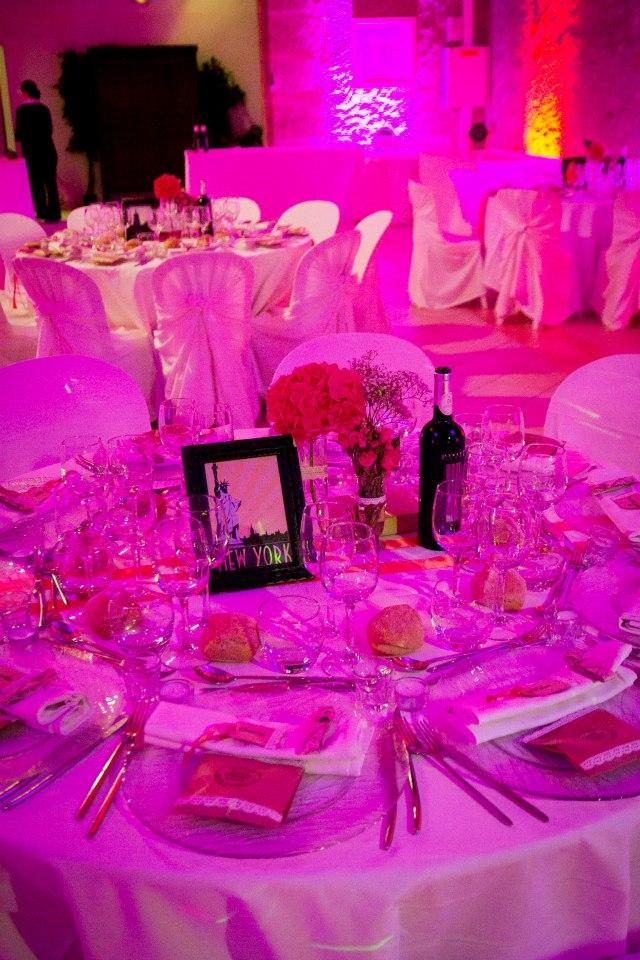 déco de table lumière rose