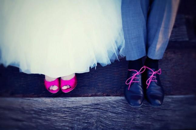 chaussures mariés rose