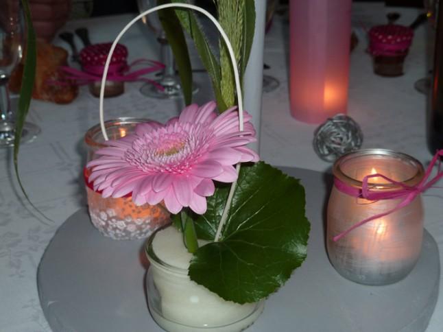 mariage rose et gris déco table