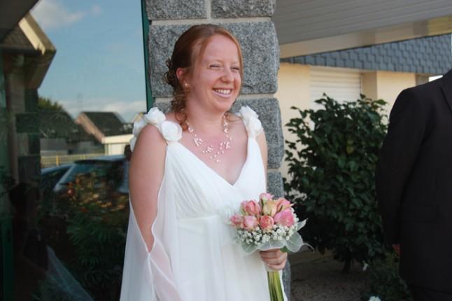 mariage rose et gris mariée rires