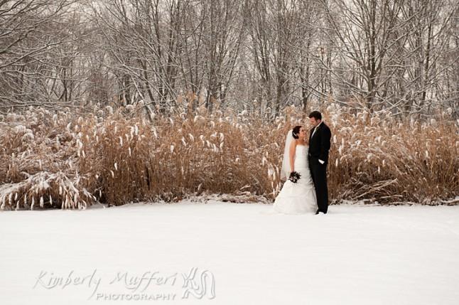 mariés paysage enneigé
