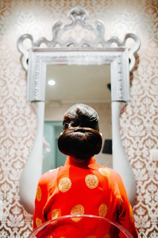 la mariée devant le miroir