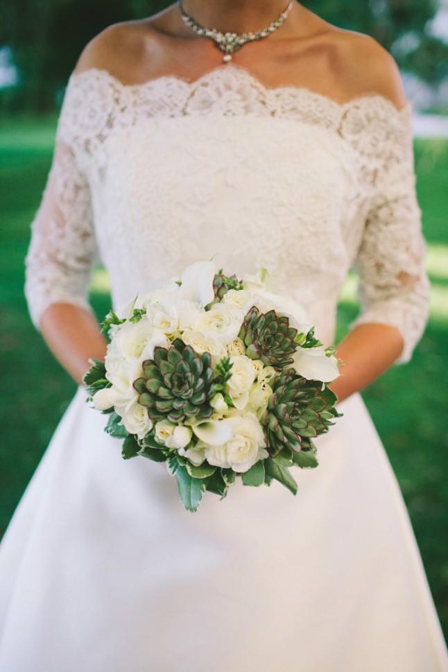 bouquet de mariée blanc et vert