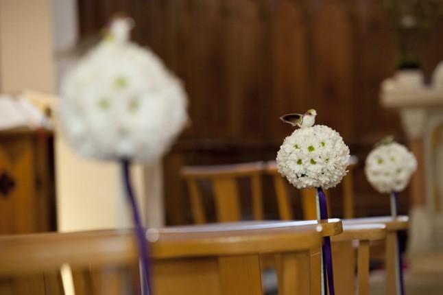 mariage Abbaye de Collonges thème oiseau déco église