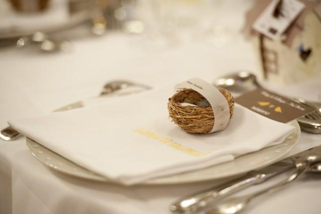 mariage Abbaye de Collonges thème oiseau marque place