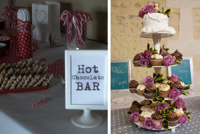 mariage neige chateau mariée rousse bar chocolat piece montee