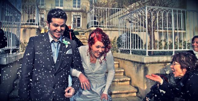 mariage neige chateau mariée rousse sortie mairie