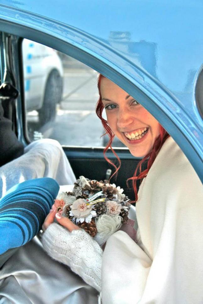 mariage neige chateau mariée rousse voiture mariée