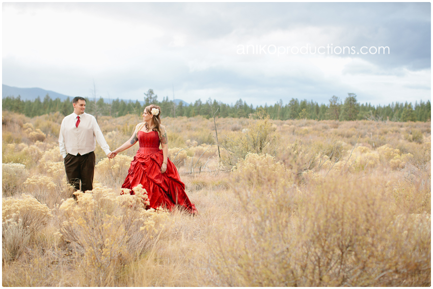 couple robe de mariée rouge