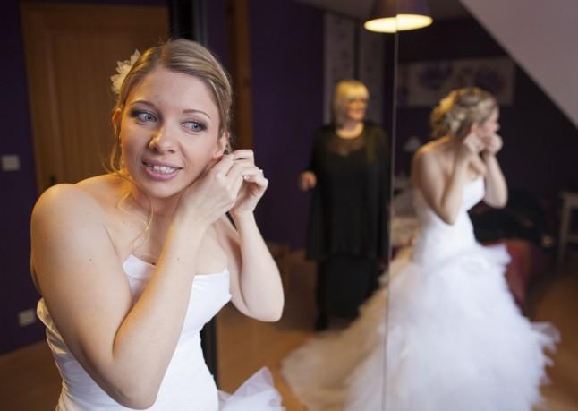 habillage de la mariée : boucles d'oreilles