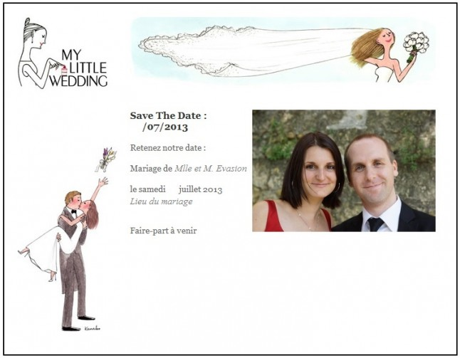 Save the date Mlle Evasion