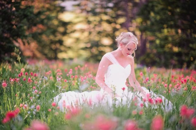 mariée champ de fleurs
