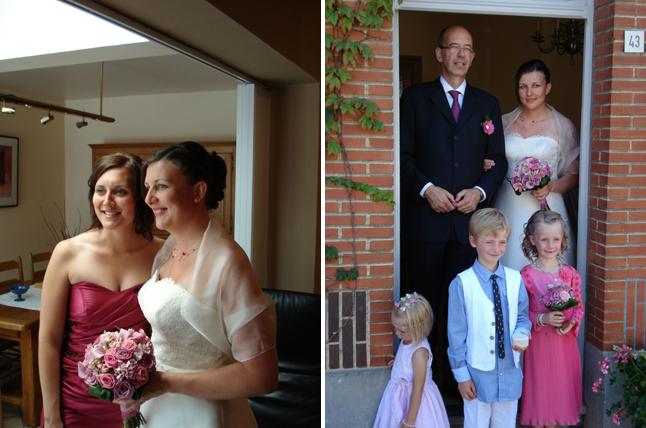 mariage couleur rose sortie de la maison et témoin