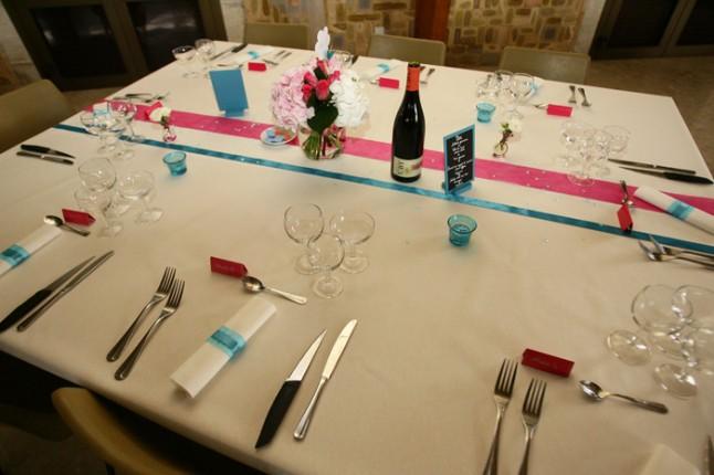 mariage lot et garonne turquoise et fushia déco table