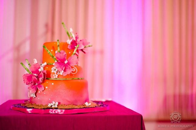 wedding cake orange et fleuri