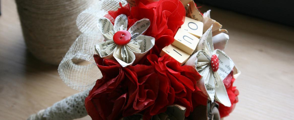 Tutoriel : fabrique ton bouquet de fleurs en papier et tissu