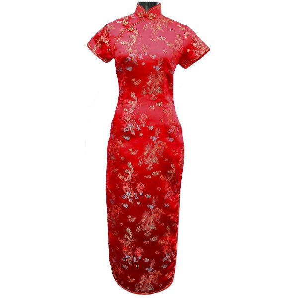 Robe-Chinoise-Traditionnelle-Longue-Rouge-Motifs-Dargon