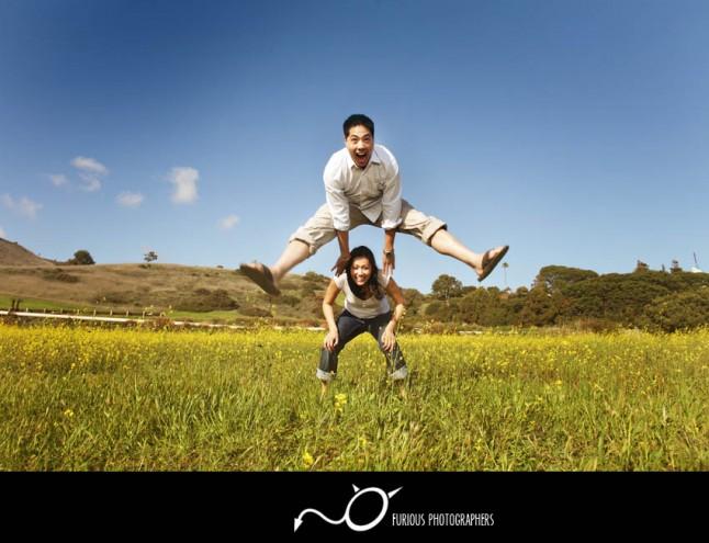 photos d'engagement saute-mouton