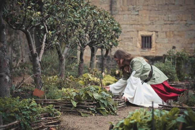 photos de couple mariage médiéval jardin de simples
