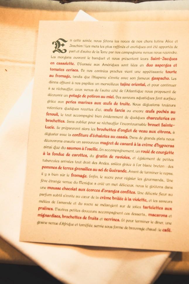 menu mariage médiéval fantastique moderne