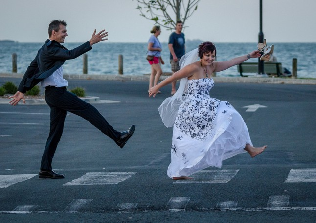 Beatles walk wedding
