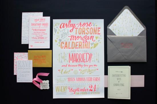 Faire-part invitation mariage fluo néon