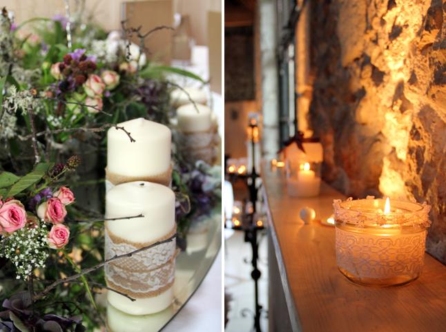 déco de mariage fleurs et bougis