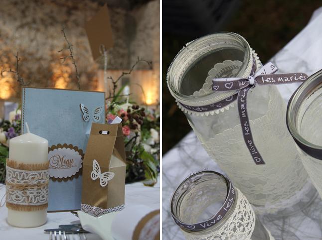 déco de mariage menu cadeau invité bocaux dentelle