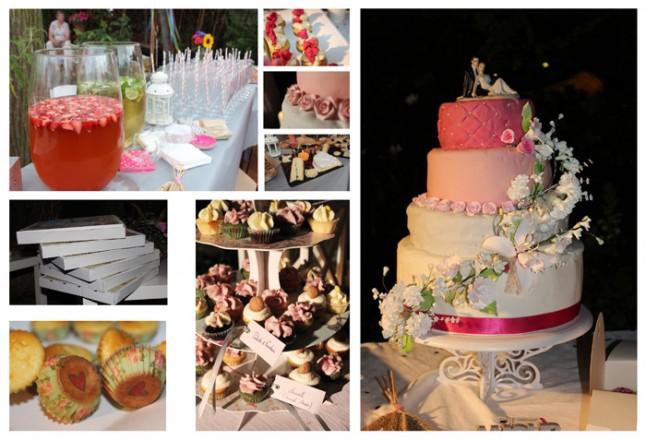 desserts mariage champêtre rose et blanc wedding cake
