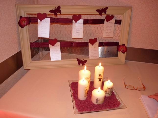 déco de mariage rouge et ivoire plan de table