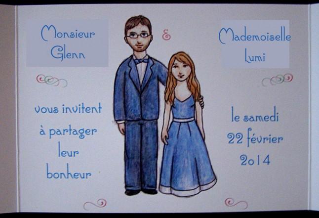 Interieur faire-part mariage DIY illustré