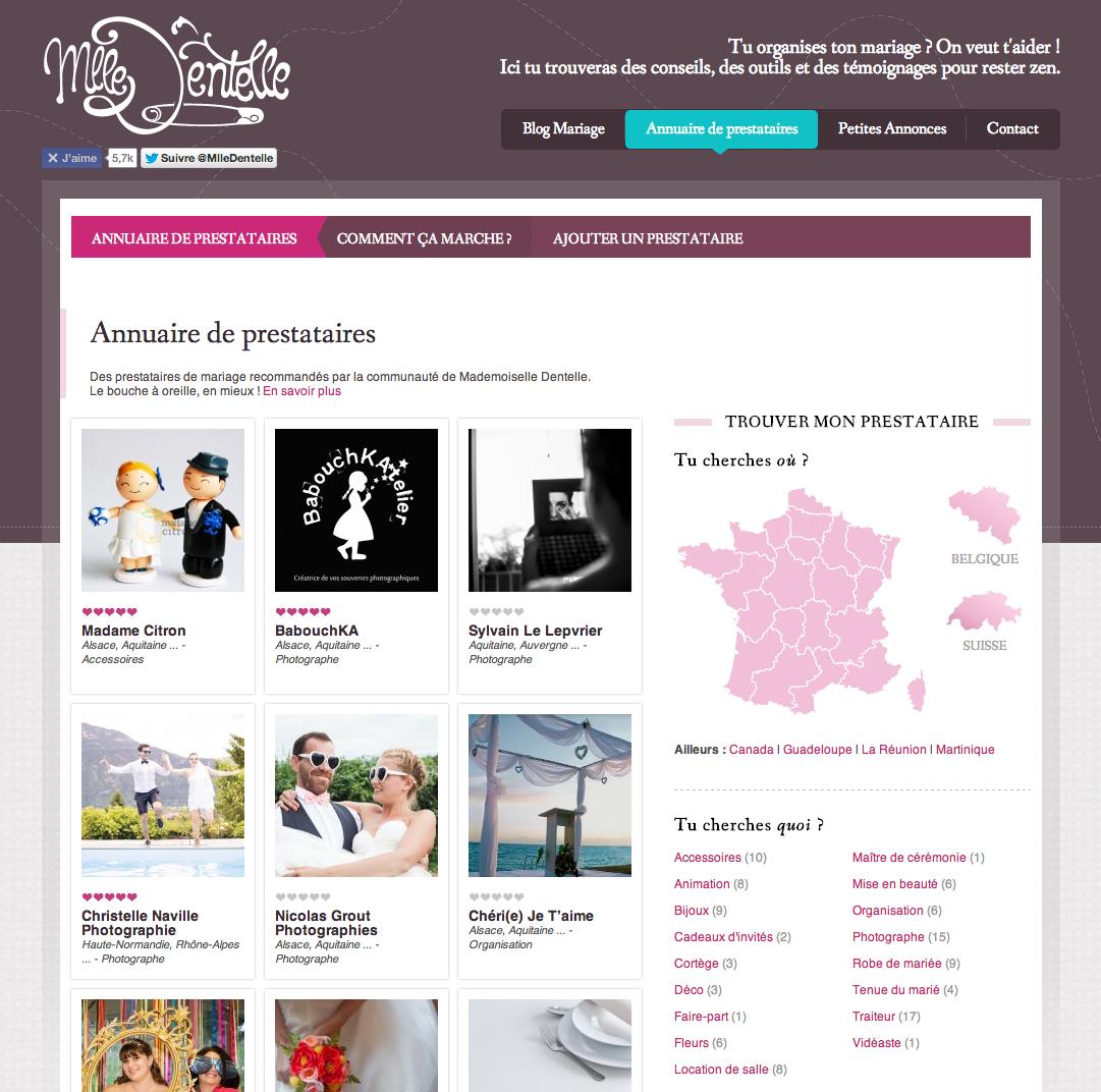 Trouve ton prestataire de mariage dans le nouvel annuaire de Mademoiselle Dentelle !