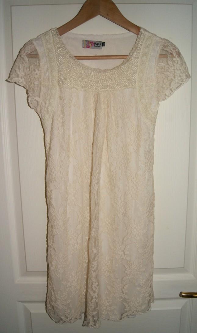 robe courte rétro, dentelle et perles, pour mariage à la mairie
