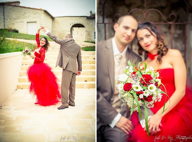 mariage en rouge découverte robe et bouquet de fleurs rouge et blanc