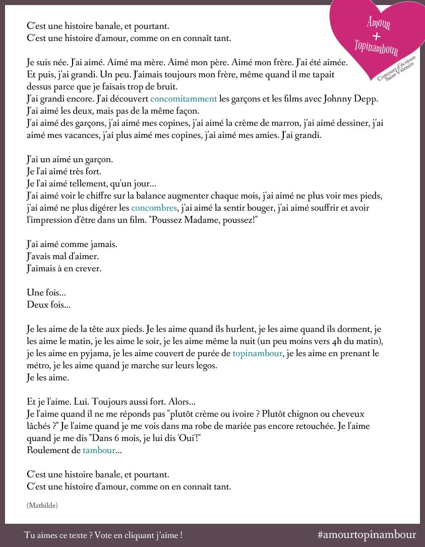 Texte Amour Topinambour de Mathilde