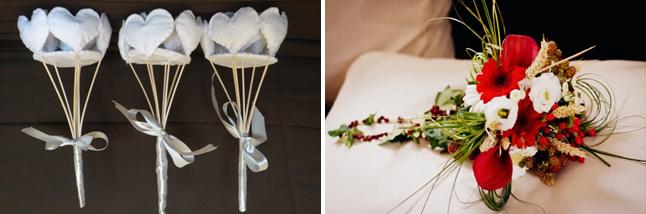 bouquets de coeur en feutrine - bouquet de fleurs rouge et blanc