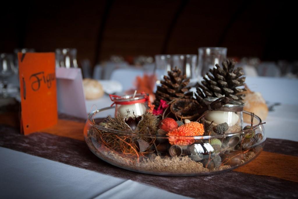 Pot pourri centre de table mariage automne