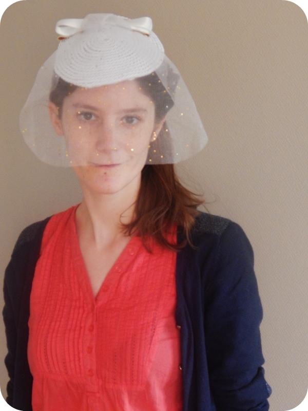 Bibi de mariée DIY terminé et porté